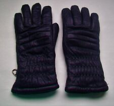 Ladies Vintage  Snow Ski Gloves  Imported leather Dark Navy Blue - L