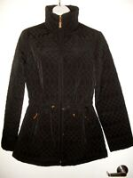 New Ellen Tracy Womens Small Quilted Jacket/Coat Black Front Zip Fur Lined