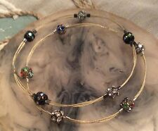 Crystal Disco Beads Set Of 2 Wire Multi Strand Cable Bangle Bracelet