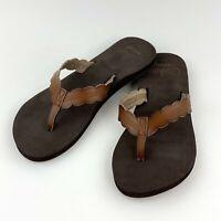 Reef Celine Brown Women's Size 6 Flip Flops Sandals Vegan Leather Rust