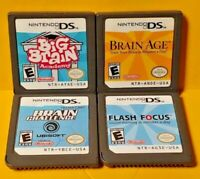 Brain Age 1 Big Brain Brain Challenge Flash Focus Nintendo DS Lite 2ds 3ds Lot