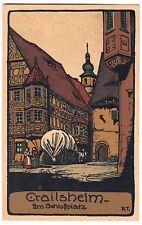 CRAILSHEIM Am Schloßplatz * Künstler-AK um 1920 Steinzeichnung