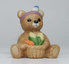 Vintage Homco Porcelain Bear Figurine - # 1413 - Indian Bear with Corn Basket