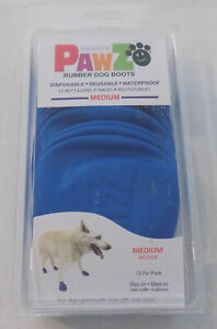 Pawz Rubber Dog Boots Blue Size Medium  Waterproof Reusuable 12 Per Pack
