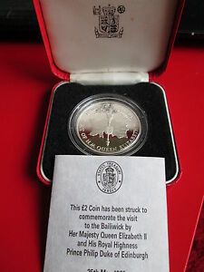 Royal Mint Silver Proof £2 1989 Queen Visit To Jersey Boxed COA