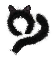 Cat Set With Marabou Trim Ears And Tail Fluffy Black Feline Cute Soft Fancy Dres
