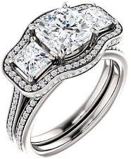 2.22 ct 3 stone Cushion & Round cut DIAMOND Halo Engagement 14k White Gold Ring