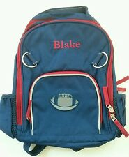 Pottery Barn Kids Small Fairfax Blue Red Football Patch Backpack name BLAKE New