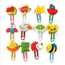 12x Cute Cartoon Animal Wooden Bookmark Paper Clip School Supplies Stationery CN