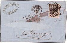 STATO PONTIFICIO 1858 - 5 b. n. 6 ANGOLO LUSSO BOLOGNA x FIRENZE