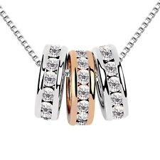 18K White + Rose Gold Plated Made With Swarovski Crystal Triple Rings Necklace