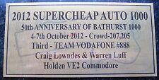 "2012 Bathurst  Thir ""3D"" Lowndes & Luff Gold plaue 120x60mm F/Postage"