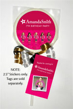 "12 American Girl Doll Birthday Party Favors Personalized 2.5"" Lollipop Stickers"