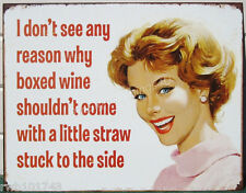 Boxed Wine with Straw quote Tin Sign funny metal poster home bar wall decor 1982