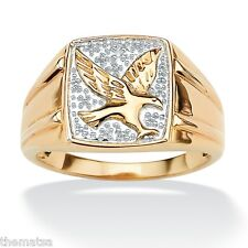 Eagle 18K Gold Over Sterling Silver Ring Round All Sizes 8 9 10 11 12 13