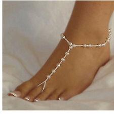 Wedding Bridal White Pearl Anklet Barefoot Beach Sandal Beach Foot Jewellery