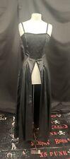 Vintage Raven Gótico Negro Imitación Cuero Vestido M UK 12/14