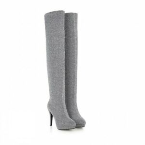Ladies Shoes 5 Colors High Heel Pull On Over Knee Pole Dance Stretch Boots New D