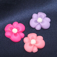 30pcs Hot Sale Mixed Color Flower Shape Resin Flatback Stick-on Embellishments D