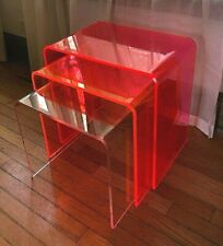 INC Acrylic Nesting Table Set 3 Neon Multi Color End Accent Tables