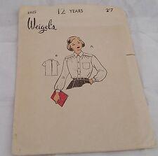 RARE Vintage 1950s WEIGELS Sewing Pattern 1825 UNCUT Teen GIRLS BLOUSE Shirt