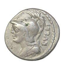 Ancient Roman Republic P. Servilius Rullus Silver Denarius 100 BC Rome Mint