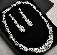 New Silver Plated Crystal Choker Jewellery Set For Wedding New Year's Party