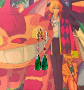 Anime Howl's Moving Castle Cosplay Earring Green Drop Earrings for Women Gift