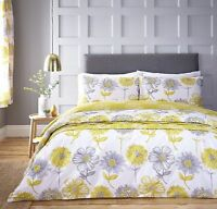 Catherine Lansfield Banbury Yellow Floral Duvet Cover Bedding Set