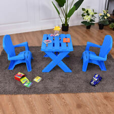 3-Piece Children Kids Table & Chair Set  Play Furniture In/Outdoor PlasticBlue