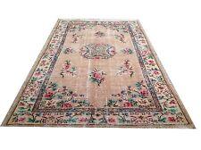 "8'5""x4'9"" apricot  green pink overdyed neutral vintage rug carpet retro art deco"