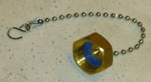 Brass Garden Hose Cap Fitting Threaded Solid Heavy Hex with Chain and Washer New