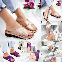 Womens Comfy Slip On Platform Sandals Ladies Shoes Bunion Corrector Slippers US