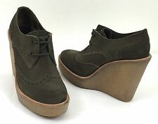 Pierre Hardy Brogue Olive/Gray Suede Lace Up Oxford Platform Wedge US sz 8 m