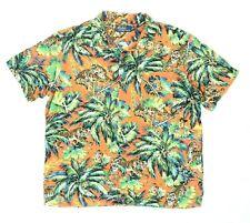 "Polo by Ralph Lauren Men XL 50"" Hawaiian Shirt Tiger Palm Tree Hula Girl S/S"
