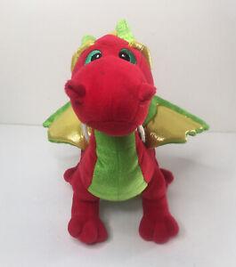 "Aurora World Winged 18"" Dragon Darmith Red Green Gold Stuffed Animal Plush ROARS"