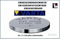 Piles boutons 3V lithium Varta, CR2032/2025/2016/1220/1616/1620/2430/2450