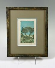 Signed Framed Print green and blue trees birds and landscape Pucelle