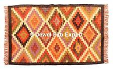 Indian Handwoven Wool Jute Rug Kilim Dari 3x5 Ft Vintage Kilim Carpet Throw