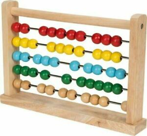 Wooden Abacus Counting Beads Number Frame Learning Maths Toy Made of Real Wood