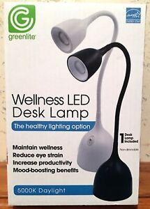 Greenlite Wellness LED Desk Lamp 3.5 Watts 300 Lumens 5000K Daylight Flex Black