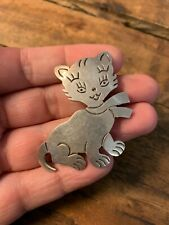 Vintage  Cat 925 Sterling Silver Pendant Necklace Mexico Persian Kitten in Scarf