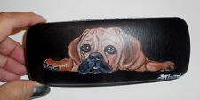 Puggle dog Hand Painted Reading Eyeglass Glasses Hard Case