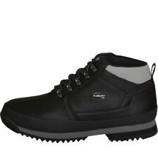 NEW Lacoste Mens Upton Hiker Leather Boots Black/Grey 8 UK / 42 EU