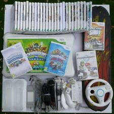 HUGE NINTENDO WII FIT BOARD 32 GAME BUNDLE 2 REMOTES MARIO KART WHEEL SKYLANDERS