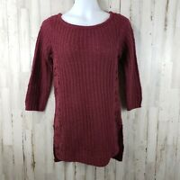 LC Lauren Conrad Womens Sweater XS Red Lace Overlay 3/4 Sleeve Tunic NEW