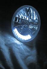 "Street Rod 7"" Tri Bar Blue Dot H4 Headlights w/ Clear LED Turn Signals 12v PAIR"