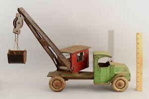 RARE Antique 1920s Chein Hercules Pressed Steel Crane Steam Shovel Mac Truck Toy