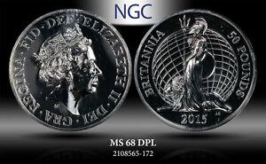 2015 GREAT BRITAIN £50 POUNDS BRITANNIA NGC MS 69 DPL SILVER