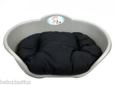EXTRA LARGE PLASTIC SILVER GREY PET BED WITH BLACK CUSHION DOG CAT SLEEP BASKET